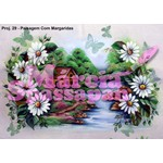 Projeto para Pintura com Foto e Risco Paisagem com Margaridas - Proj. 29