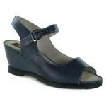 Sandália Em Couro Anabela Blue BM0018