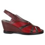 Sandália Em Couro Anabela Vermelha BM0028 J.Gean