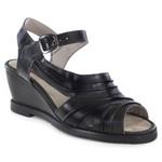 Sandália em Couro Anabela Preta BM0026 J.Gean