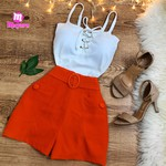 Shorts Social c/ Cinto - Laranja