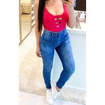 Calça Jeans Melinda Detalhe Bolso - Cor Azul Médio