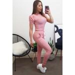 Conjunto| Blusa Manga Princess e Calça c/ Fita - Rosa