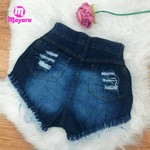 Shorts Jeans Azul Com Amarra