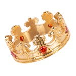 Anel Masculino Coroa Inoxidável Ouro com Brilho