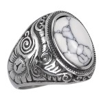 Anel Pedra Branca Aço Inox