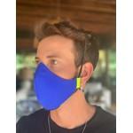 Máscara Tecido Lavável Tricolor Laranja/Azul/Marinho Cor 3.1