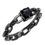 Anel Chains Zircônia Preto 6x6 mm Ródio Negro