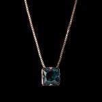 Colar Zircônia Azul Mergulhador 8x8mm Ouro
