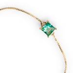 Pulseira Zircônia Verde Turmalina 6x6mm Ouro