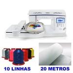 MÁQUINA DE BORDADOS BROTHER MODELO BP 1430L COM KIT COM 10 LINHAS DE BORDAR
