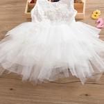 Vestido Branco Babado de Tule