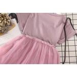 Vestido Camiseta Saia Tule Rosa