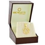 Pingente Estrela de Davi Ouro 18K Círculo Vazado 1,5cm