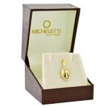 Pingente de Nossa Senhora Aparecida Ouro 18K Diamantado Oval