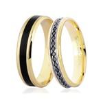 Par de Alianças de Ouro 18K com Diamantes Negros e Detalhe Pigmentado
