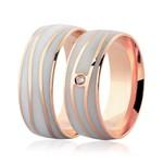 Par de Alianças Ouro Rosé 18K Detalhe Pigmentado e Brilhante 7mm
