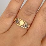 Anel 5 Corações em Ouro 18K Bicolor Menor