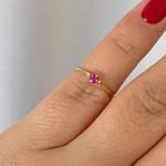 Anel Infantil de Ouro 18K Pedra Zircônia Vermelha