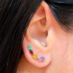 Brinco EarCuff com Pedras Naturais Coloridas Ouro 18K