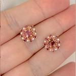 Brinco de Ouro Rosé 18K com Turmalinas Rosa