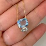 Gargantilha de Ouro 18K Pedras de Topázio Azul