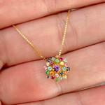 Gargantilha de Ouro 18K Buquê com Pedras Naturais Coloridas