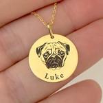 Pingente Cachorro Pug em Ouro 18K com Nome Personalizável