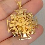 Pingente São Bento Cruz Malta Grande Ouro 18K