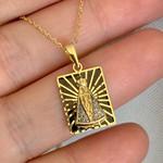 Pingente de Nossa Senhora Aparecida Ouro 18K Esmaltado