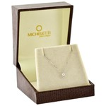 Gargantilha de Ouro Branco 18K Pingente Ponto de Luz de Diamante