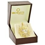 Pingente de Divino em Ouro 18K Detalhe Diamantado