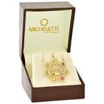 Pingente Mandala Ouro 18K Flor de Lótus com Pedras Naturais Coloridas