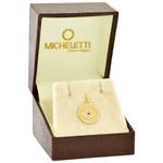 Medalha Olho Grego em Ouro 18K com Brilhantes e Safira