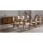 Sala De Jantar Em Madeira Luxo Com Mesa De 2,50m, 8 Cadeiras e 1 Balcão