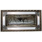 Quadro Santa Ceia Com Espelho 124x65cm - Moldura Prateada