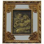 Quadro Sagrada Família Com Espelho - Moldura Dourada