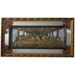 Quadro Santa Ceia Com Espelho 93x59cm - Moldura Dourada