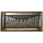 Quadro Santa Ceia Com Espelho 150x73cm - Moldura Dourada