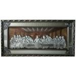 Quadro Santa Ceia Com Espelho 150x73cm - Moldura Prateada
