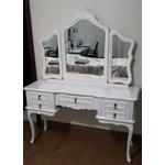 Penteadeira Branca Provençal Madeira Maciça 3 Espelhos