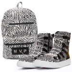 KIT Mochila Club Fashion + Tênis MVP Hard Shape - Zebra White