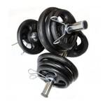 Kit 12 anilhas de Ferro (24kg) 2 Barras Ocas 40cm + 4 anilhas pintadas de 3, 2, 1kg
