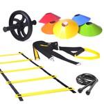 Kit Escada Agilidade + TRX + Corda de Pular + Roda + 10 Chapéu Chinês