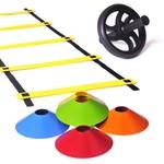 Kit Escada de Agilidade + 10 Chapéu Chinês Colorido + Roda Abdominal