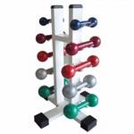 Kit 5 Pares Halter 1 A 5 Kg + Suporte Torre Expositor