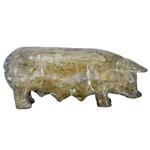 Escultura de Porco em Madeira M