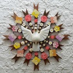Divino Espírito Santo Resplendor com Esculturas de Flores Coloridas 0,90M.