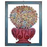 Quadro Vazado de Ânfora em Lata com Flores Coloridas