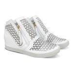 Sneakers Laser Geométrico Branco - Salto 4,5 Cm